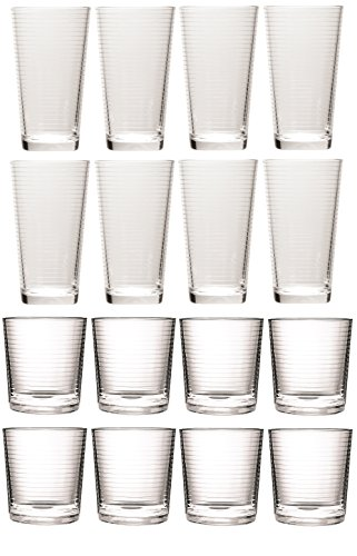 Circleware Theory Huge Set of 16 Drinking Glasses, 8-15.75oz. and 8-12.5oz. Double Old Fashioned Whiskey Glass, Clear, Lead-Free Glass Drink Cups ()