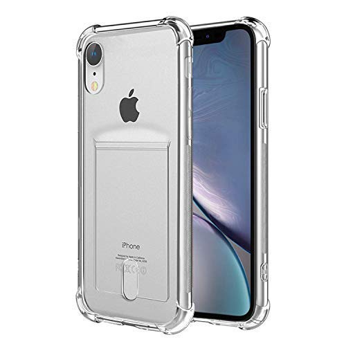 low priced fa542 23cb5 ANHONG iPhone Xr Clear Case with Card Holder, [Slim Fit][Wireless Charger  Compatible] Protective Soft TPU Shock-Absorbing Bumper Case with Soft  Screen ...