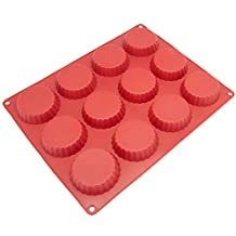 Freshware CB-111RD 12-Cavity Silicone Mini Cookie, Pie, Quiche, Custard and Tart Mold