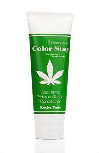 Premium Wild Hemp Tattoo Conditioner Lotion 4 oz. | Before & Aftercare  Color Stay Fade Protection  Hemp & Vitamin Infused  No Petroleum  Never Greasy  100% Vegan  Made in USA  Piper Cove