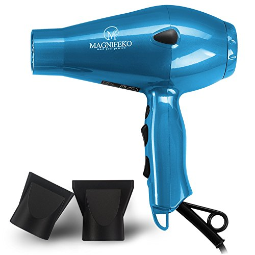 Magnifeko 1875W Professional Hair Dryer with Ionic Conditioning - Powerful, Fast Hairdryer Blow Dryer - 2 Speeds, 3 Heat Settings (Blue)