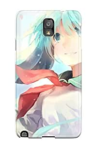 Premium Galaxy Note 3 Case - Protective Skin - High Quality For Close-up Vocaloid Hatsune Miku Tears School Uniforms Schoolgirlstwintails Smiling Flower Petals Aqua Aquasoft Shading Spread Arms Sailor Uniforms Bangs Skies Parted Lips