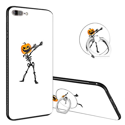 iPhone 8 Plus Case,Skeleton Pumpkin Halloween Funny iPhone 7 Plus Tempered Glass Back Cases with Finger Ring Stand, 360°Rotatable Ring Holder Kickstand Fashoin Soft TPU Case for iPhone 7/8 -