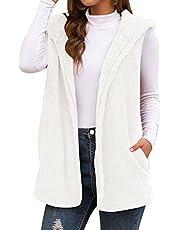 Panegy Women's Sleeveless Cardigan Vest Winter Outwear with Pocket Hooded Coat