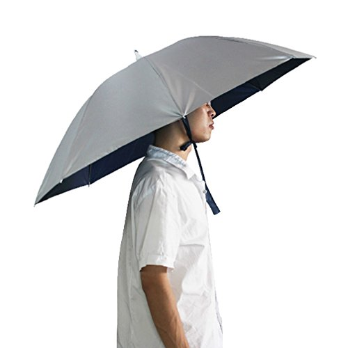 [Luwint 38'' Diameter Oversized Sun Rain Gardening Hiking Headwear Umbrella Hat, Silver] (Farmers Daughter Halloween Costume)