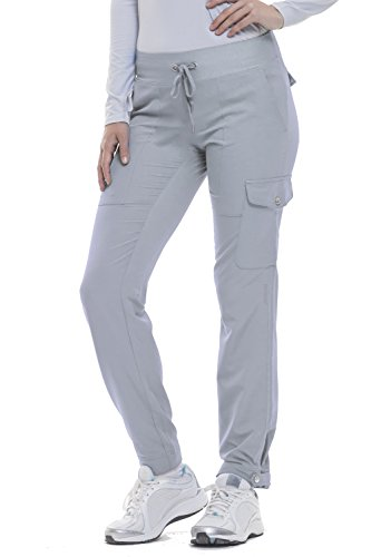(healing hands HH360 Women's Nikki 9154 Button Cuff Yoga Waist Scrub Pant- Silver Cloud- X-Small Tall)