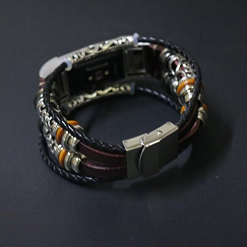 Bracelet For Fitbit Charge 2 Replacement Leather Wristband Bands Band Strap (Wine) by WEIJIJ (Image #4)