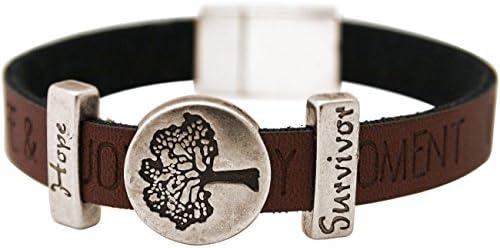 Gemshine - Damen - Armband - Lebensbaum - WISHES - Braun - Dunkel - Magnetverschluss - Hope - Survivor