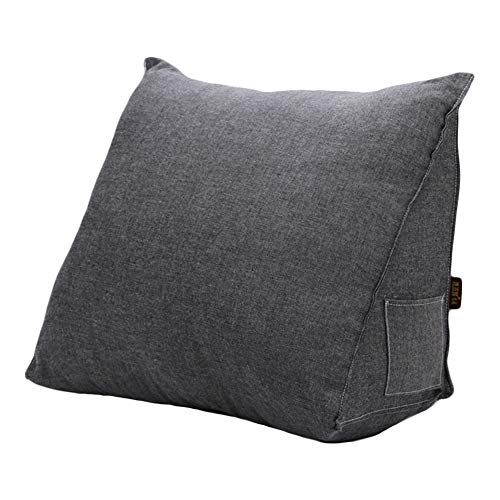 - Roner Large Cotton Linen Filled Triangular Wedge Pillow Positioning Support Reading Backrest Cushion Home Office Lumbar Pad for Sofa Bed Daybed Removable Washable Cover Gray 20 Inches