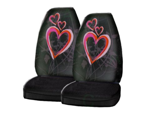 A Set of 2 Universal-fit Front Bucket Seat Cover - Optic Art Love Hearts Pink and Red ()
