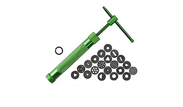 Holly LifePro Green Stainless Steel Clay Extruder with Brush Cake Fondant Sugar Paste Extruder Ceramics Pottery Polymer Modeling Decorating Equipment Set