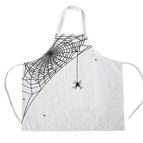 Spider Web 3D Printed Cotton Linen Apron,Corner Cobweb with a Hanging Insect Hand Drawn Style Gothic Design with Flies Decorative,for Cooking Baking Gardening,Black White ()