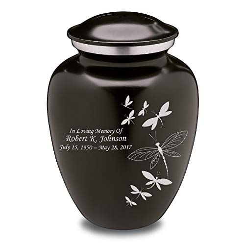 (GetUrns Custom Engraved Adult Black Embrace Cremation Urn (Dragonflies))
