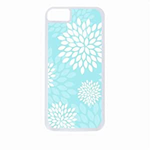 Aqua Flower Blooms- Case for the Apple Iphone 5C-Hard White Plastic Outer Shell with Inner Soft Black Rubber Lining