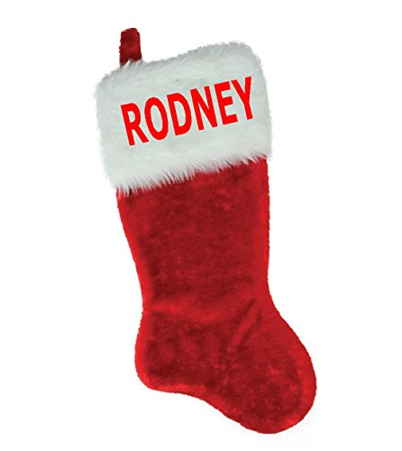 NAME (RODNEY) EMBROIDERED 18'' X 8.5'' Traditional Red and White Plush Christmas Stocking PERSONALIZED by Christmas STOCKING