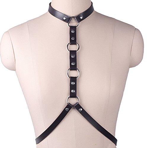 Women's Punk Waist Belt - Gothic Sexy Body Chain Harness Adjustable (Studded Suspenders)
