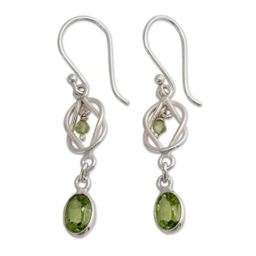 - NOVICA Peridot and .925 Sterling Silver Dangle Earrings, Lime Knot' (1.03 cttw)
