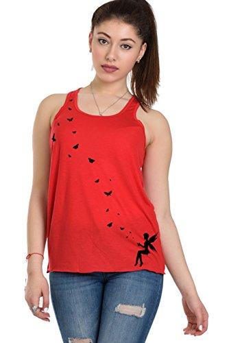 mariposa 3elfen sin mangas Summer Volver suelta Rojo Top corredor Mujer Camisa Negro Tanktop rECqfOrw