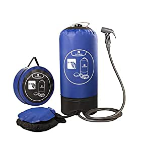 Dr. Prepare Camping Shower, 4 Gallons Portable Outdoor Camp Shower Bag Solar Shower with Pressure Foot Pump & Shower Nozzle for Beach Swim Travel Hiking - Blue