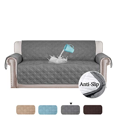 H.VERSAILTEX 100% Waterproof Furniture Protector Couch Slip Cover Throw for Pets, Kids, Cats Quilted Sofa Protector Stay in Place Microfiber Soft and Machine Washable (Sofa: 75