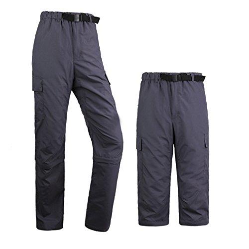Kayla qin Mens Quick Dry Pants Convertible Waterproof Lightweight Cargo Hiking Sports Outdoors Deep Gray M