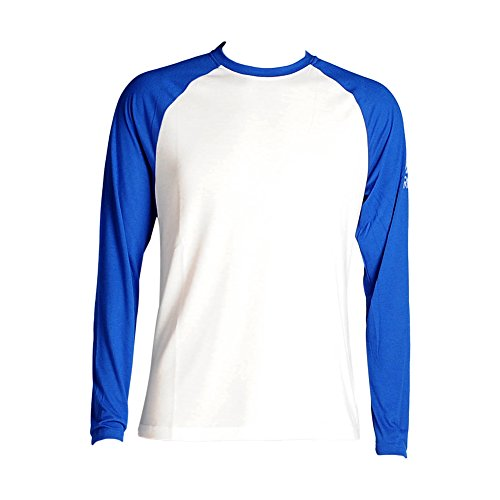 Reebok Men' Supremium Long sleeve Baseball Tee, White/Collegiate Royal, (Collegiate Long Sleeve Tee)