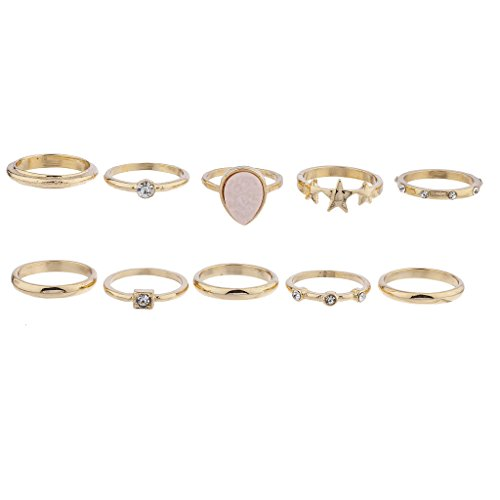 Lux Accessories Gold Tone Druzy Star Celestial Novelty Stackable Bohemian Vintage Rings Set -