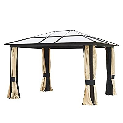 Outsunny Aluminum/Steel Backyard Hardtop Gazebo with Screened Curtains - Black/Brown
