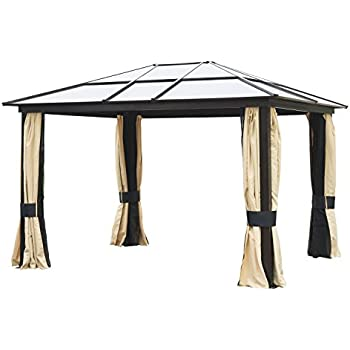 Charmant Outsunny 12u0027 X 10u0027 Outdoor Patio Canopy Party Gazebo W/Mesh And Curtains