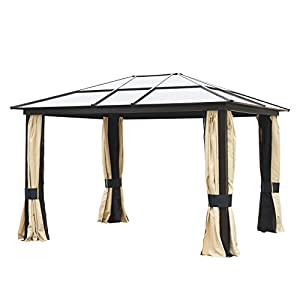 Outsunny 12′ x 10′ Aluminum Frame Patio Gazebo Canopy with Polycarbonate Hardtop Roof, Mesh Net Curtains, & Durability
