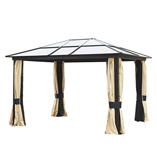 Frame 10ft Aluminum (Outsunny 12' x 10' Outdoor Steel Polycarbonate Hardtop Canopy Gazebo with Curtains - Tan/Black)
