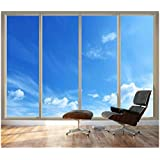 "wall26 Large Wall Mural - Clear Blue Sky Seen Through Sliding Glass Doors | 3D Visual Effect Self-adhesive Vinyl Wallpaper/Removable Modern Decorating Wall Art - 66""x96"""