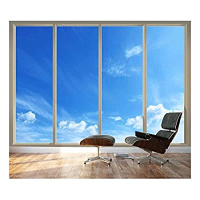 Stunning Portrait, Crafted to Perfection, Large Wall Mural Clear Blue Sky Seen Through Sliding Glass Doors 3D Visual Effect Vinyl Wallpaper Removable Decorating