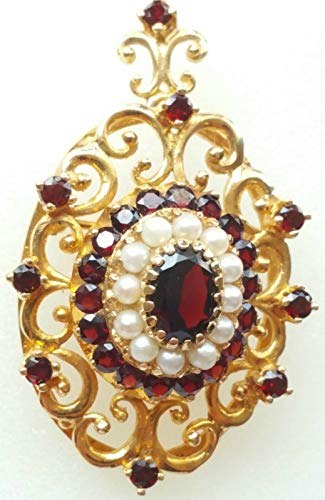 GOLD 10KT CAST BROOCH/PENDANT WITH GARNETS AND PEARLS *WITH INSURANCE APPRAISAL*