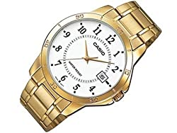 Casio #MTP-V004G-7B Men's Standard Gold Tone Stainless Steel White Dial Date Watch