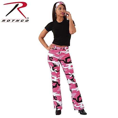Women's Stretch Flare Pants, Pink Camo, 7-8 Size