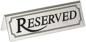 New Star 26900 Stainless Steel Reserved Table Sign, 4.75 by 1.5-Inch, Set of 6