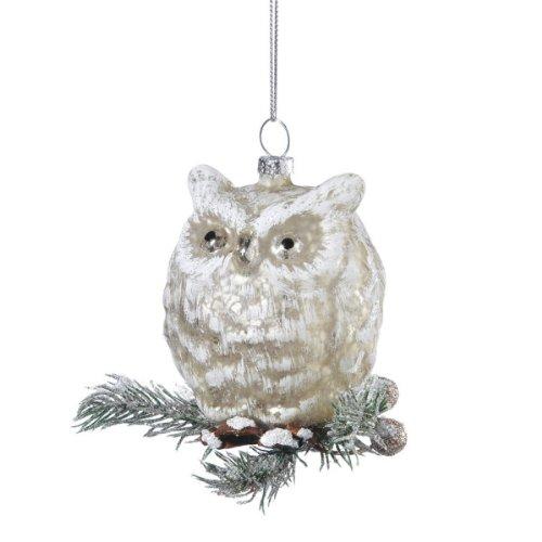 Snow owl glass ornament