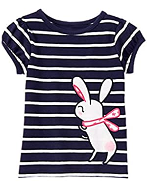 Baby Girl Striped Bunny Tee
