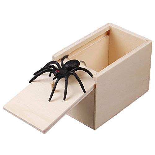 preliked Scary Fake Spider Prank Wooden Prank Box Joke Gag Trick Play Toy