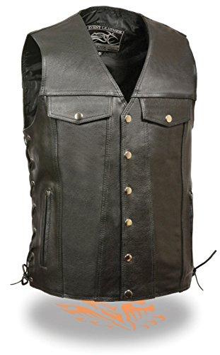 Men's Motorcycle Blk Jean 6 pocket Leather vest 2 Chest pockets side laces New ()