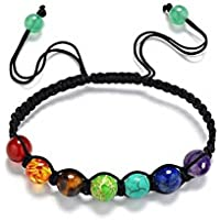 8mm Chakra Healing Balance Beaded Bracelet Braided Lava Yoga Reiki Prayer Stones