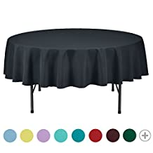 VEEYOO 70 inch Round Solid Polyester Wedding Restaurant Party Tablecloth, Dark Gray