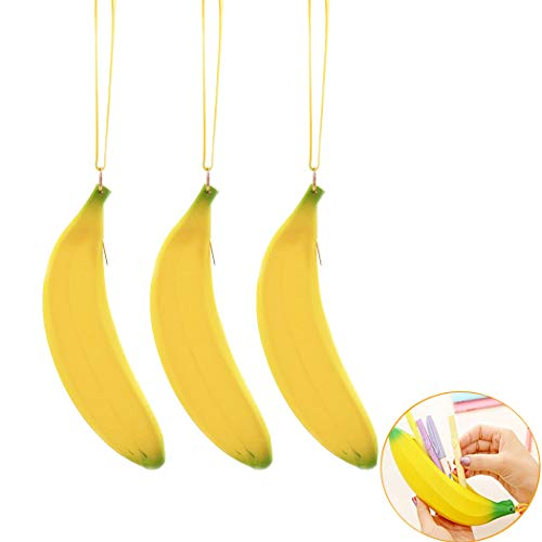 3Pcs Banana Pen Bag Pencil Case, Silicone Purse Wallet Wristlet Coin Bag with Wrist Strap, Portable Zipper Design Coin Bag Key Pouch for Pen Lipstick Key Coin Money - Case Coin Yellow