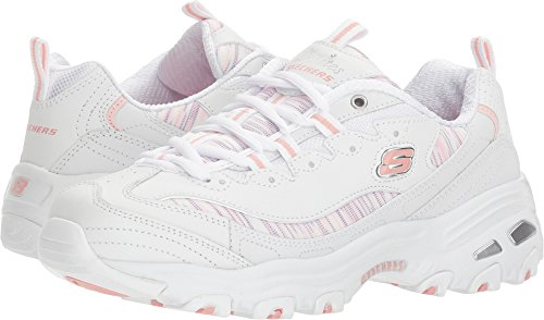 Skechers Womens D'Lites - Water Colors White/Light Pink 8 B - (Light Pink Leather Footwear)