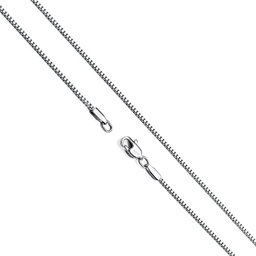 Hollywood Jewelry 14K White Gold Box Chain Necklace Gold Over Semi-Precious Metals, Pendant Chocker Necklace Made Thin for Charms, Strong, Comes in Box Gift Lobster Clasp (22)
