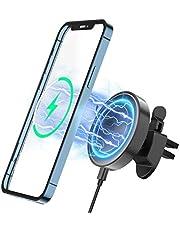 COSOOS Compatível com carregador sem fio Mag-Safe, carregador magnético sem fio para carro para iPhone 12/12 Mini/12 Pro/12 Pro Max, suporte de carregador sem fio magnético rápido de 15W, suporte de telefone para saída de ar de 360°