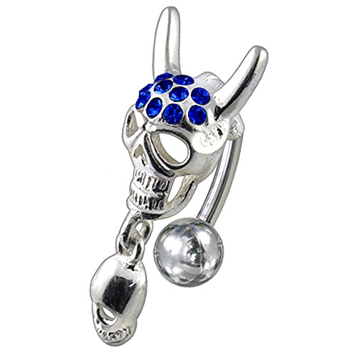 Blue Sapphire Multi Crystal Stone Devil Head with Skull Reverse Bar Design 925 Sterling Silver Belly Button Piercing Ring Jewelry by AtoZ Piercing