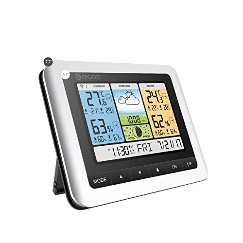 DIGOO TH8888 In&Outdoor Thermometer Color Weather Station with 3 Channels remote outdoor sensors, Home Thermometer USB Outdoor Forecast Sensor with Alarm Clock (Hpa Lcd)
