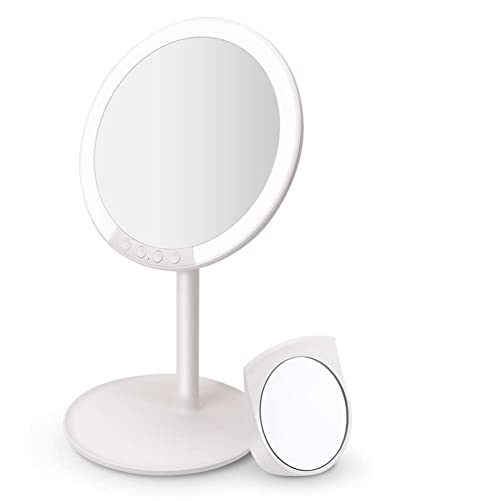 Lighted Makeup Mirror, MANLI 7.8 Inch Vanity Mirror Lights with 66 LED Lights, 7X Magnifying Makeup Mirror, 120 Adjustable Rotation, 3 Color and Brightness Dimmable, Cordless and Rechargeable